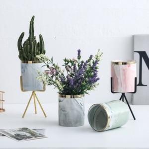 Çiçekler Bitki Kalem Makyaj Fırça Organizatör sorage Hme Dekorasyon T191016 için Glod Ebru Seramik Standı Vazo Küçük Saksı Saksı