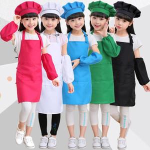 Niños Niños Delantal Mangas Conjunto de sombreros con bolsillo Jardín de infantes Cocina Hornear Pintura Cocina Artesanía Arte Babero Delantal 1Set = Delantal + sombrero + manga