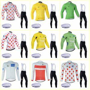 Tour de francia equipo ciclismo invierno termal vellón jersey babero conjuntos hombres de alta calidad 2019 nueva ropa al aire libre a prueba de viento u81532