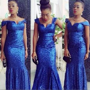 Glitter Royal Blue Pailletten Abendkleider African Nigerian Mermaid Prom Kleid aus der Schulter Plus Size Special Occasion Kleid Brautjungfer