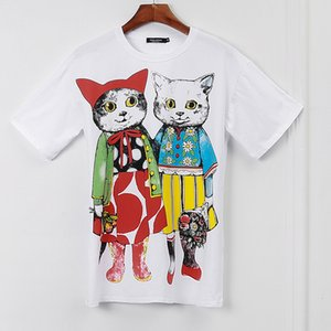 2019 Autumn Brand Same Style T Shirt White Animal Print Short Sleeve Crew Neck Fashion Womens XIUYIGE