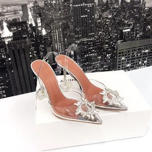 2019 디자이너 투명 크리스탈 굽 높은 신발 가죽 여성은 여성에게 하이힐, 결혼 shoes11cm와 뾰족한 발가락 황금 삼각형 펌프