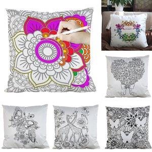39 Stiller DIY Boyama Kare Ev Yastık Kılıfı Diy Çiçekler Yastık Kapak Ev Dekoratif Boyama Yastık M1335 boşaltın