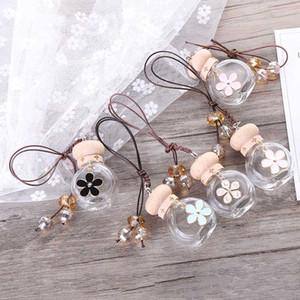 6ML bouteille de parfum Hanging Car Mini Rechargeables fleur en verre Parfum vide Bouteilles Désodorisant Diffuseur Huiles essentielles parfum conteneur