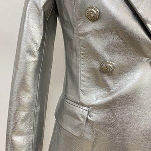 HIGH STREET Newest Baroque Fashion 2020 Designer Blazer Jacket Women's Lion Metal Buttons Faux Silver Leather Blazer Outer Coat