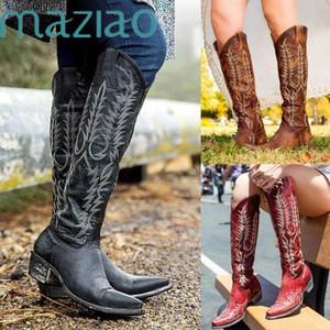 Vintage Kadınlar Diz Cizme Deri Binme Boots Ortaçağ Batı Cowgirl Sonbahar Kış Sivri Burun Düz MAZIAO