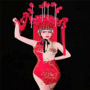 V18 Singer führen Kostüm tragen Stufe Gold Strass Kleid sexy roten Hüfterock Stretch Ärmel Kristall-Diamant-Outfit Partei zu tragen Netz