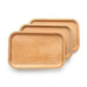 Wooden Plate Dish Square Fruits Platter Dish Dessert Biscuits Plate Dish Tea Server Tray Wood Cup Holder Bowl Pad Tableware Mat DBC VF1574