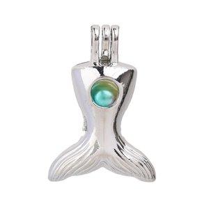 Silver Fish Mermaid Tail Pearl Cage Fabricación de joyas Medallones Colgante Collar difusor para perfume Aceite esencial
