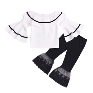 Kinder Mädchen Rüschen Outfits Puppe-Kragen-Splice Tops Aufflackern-Hülsen-Shirts Baby-Baby-beiläufige Kleidung Spitze elastische Hosen 2-6T 060526