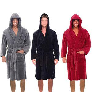 Вскользь Mens халаты фланель Мантия с капюшоном с длинным рукавом Пара Мужчины Женщины Robe Плюшевые шаль Кимоно Теплый Мужской Халат Coat #