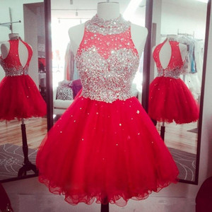 Sparkly Crystal Beaded 2019 Homecoming Dresses For Sweet 16 Dress Neck Hollow Back Puffy Tulle Royal Red Graduation Dresses Cocktail Dresses