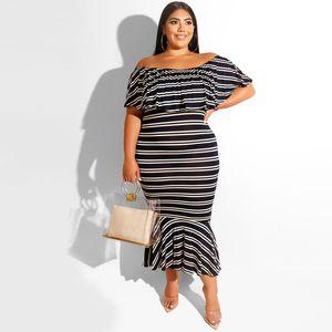 5XL Summer Womens Striped Kleid Sexy Female Slash Neck Kleider Fashion Holidays Ruffle Bodycon Kleider