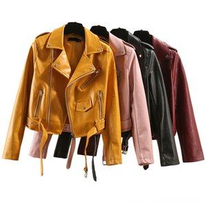 2019 새로운 가죽 자켓 여성 짧은 한국어 의류 PU 가죽 벨벳 핑크 블랙 바이커 재킷 플러스 사이즈 퍼펙 CUIR 팜므 여성 Outerwea