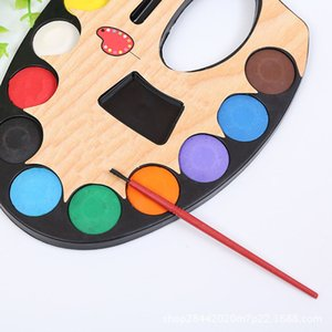 12 Couleurs solides Peintures Aquarelle Set Aquarelle enfants Portable Paint Box avec Paintbrush école d'art Esquisse Peintures Fournitures