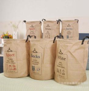 Bolsas cestas de almacenamiento de arpillera de yute compartimientos de almacenamiento Ronda Bucket ropa del bolso del organizador de lavandería Organizador impresión de la letra LQPYW460 3 estilos