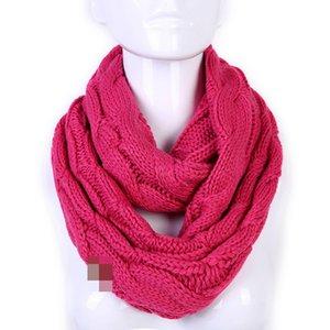Quente moda Infinito Lenços Círculo laço Inverno Neck Collar Cowl Wraps Sólidos Xaile Knit Rodada Anel Scarf TTA2055-3