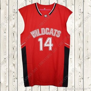 Zac Efron pas cher sur mesure # 14 Troy Bolton-Est chats sauvages de lycée Sewn Basketball Jersey Personnaliser un nom cousu numéro JEUNES FEMMES HOMMES