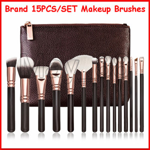 2020 Hot Sell Zoe Brand Makeup Tools Make up Brushes with a Bags Cosmetic Brushes 15pcs set Brown Pink Color dhl free shipping
