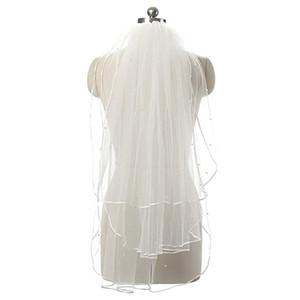 Moins cher à deux couches de mariage avec Veils Perles jardin Veils épaule longueur avec blanc Peigne de haute qualité pour le mariage Veils 11054