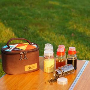 6pcs / set Bewegliche Spice Kännchen Würzen Jar BBQ Organizer Würze Flaschen Set für Camping Barbecue Picknick Mit Aufbewahrungstasche