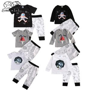 Emmababy novedad largo / manga corta de la ropa del bebé muchachas de los muchachos LED T-Shrit Tops + Long polainas 2pcs Trajes 0-4
