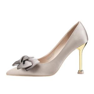 Les femmes chaussures talons hauts tendance chaussures pour dames pompes rouges talons sexy soie bowknot demoiselle d