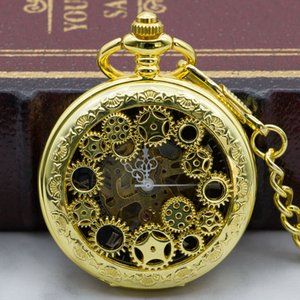 Hot Selling Golden Hand Wind Mechanical Pocket Watch Men Hollow Gear Steampunk Skeleton Vintage Watch With Fob Chain PJX1325