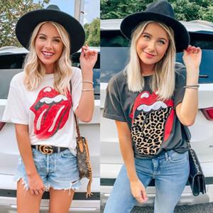 2020 Женщины Письмо леопардовый футболки лета вскользь с коротким рукавом Топы Tee O шеи Повседневный Сыпучие T Рубашка женская Черный Белый тенниска