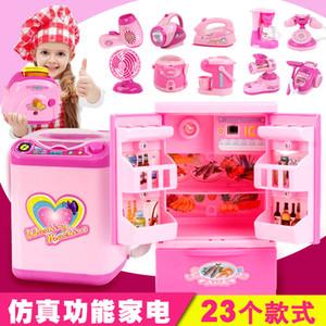 Mini juego de juguetes de cocina para niños juego de simulación eléctrica de la casa pequeños electrodomésticos de juguete refrigerador regalo