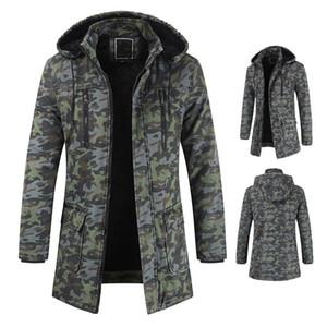 Coats Casual Kamuflaj Baskılı Uzun kollu Kapşonlu Kalın Fermuar ceketler Erkek Moda Palto Erkek Tasarımcı Kış