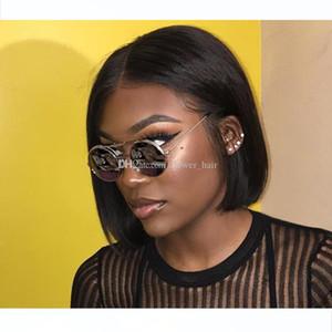 Brazilian Straight Hair Short Bob Cut Wigs Adjustable Pre Plucked 4x4 top lace Closure Bob Cut Human Hair Wigs For Black Women Wholesale