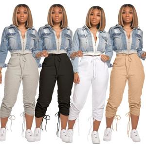 Kadın Yığın Sweatpants Katı Renk Bayanlar Hiphop Harem Pantolon rahat rahat İpli Kadınlar Capris Moda Bayan Pantolon