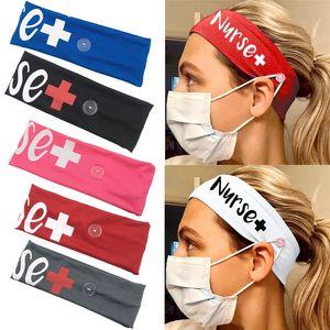 6 couleurs Bouton wrap tête Infirmière en soie élastique lait hairband Sport Sweat Turban stretch Chapeaux Accessoires cheveux Boucle bandeau JJ505