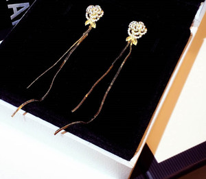 New ins fashion luxury designer earrings sparkling diamond flower leaves long tassel drop chandelier dangle stud earring for women girls