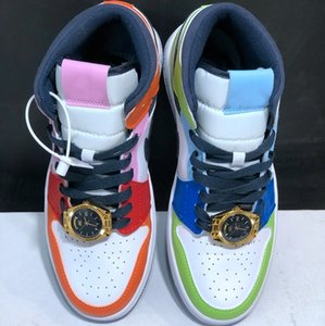 with box melody ehsani x 1 Mid WMNS Fearless Watch Womens Mens Basketball Shoes 1s Designer Multi Colors CQ7629-100 Sneakers des chaussures