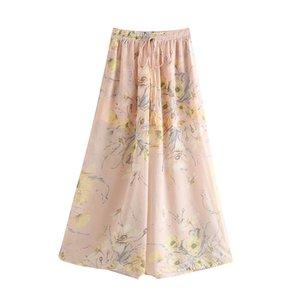 New arrival June 45-6322 European and American fashion tall waist printed chiffon wide-legged pants