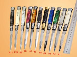 Melhor 11 Estilo 9 polegada estilo Máfia Italiana Dobrável lâmina de bolso facas Dupla AUTO 440 lâmina de aço Inoxidável facas táticas EDC 10 1113 polegada