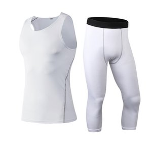 Custom Run Men's Sportswear Gym Jogging Tights Compression Training Sport Suit 3 4 Leggings Clothes Fitness Tracksuits