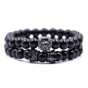 8mm Bright Black Stone Bead Bracelets Lion Head and Double Crown Charm Bracelet Couple Bangle for Men Women 2PCS set Vintage Jewelry Gift