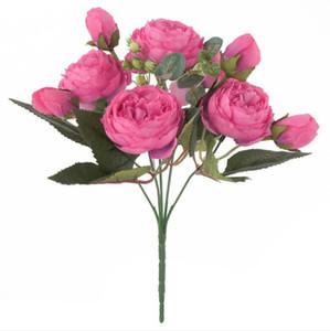 고품질 신부 9 머리 장미 꽃다발 30cm 긴 인공 꽃 9 꽃 머리 장미 꽃