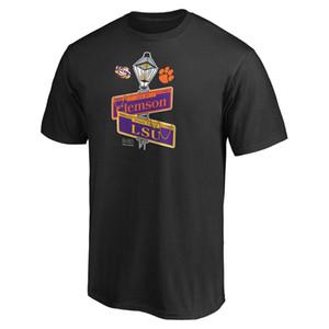 Горячие продажи NCAA LSU Тигры против Клемсон Тигров Американского футбола 2020 Национального Чемпионата коротких рукава мужских дизайнерских футболок Футболки печатного Логоса