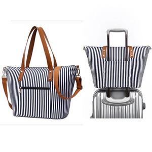 HBP Navy Striped Lienzo Mamá Bolsa Casual Baby Bag Envío gratis