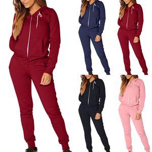 Outono Inverno Two Pieces Esporte Suit Mulheres Fatos velo Pullover cobre camisas executando Set fatos de jogging Sweatpants Set Yoga
