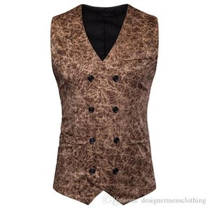 Leopard Mens Suit Vests Sleeveless Casual Mens Outerwear With Button Male Clothing