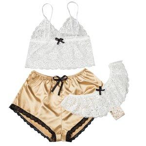 3pcs set Summer WomenTransparent Lace Pajamas European And American Sexy Summer Pajamas Stretch Satin Lace Transparent Suit New