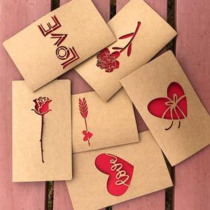 Geburtstagsgrußkarte Kraftpapier hohle Liebe stiegen Neujahrskarten Geburtstag Valentines Muttertag mit Umschlag