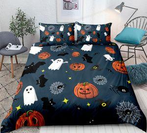 Halloween Duvet cover set Bat with Pumpkin Bedding set 3pcs Festival quilt cover Orange pillow cases fashion home textiles
