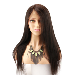 Light Yaki Peruvian Straight Lace Wig Baby Hair Virgin Pre Plucked Glueless Full Lace Human Hair Wigs Yaki Straight For African Ameican