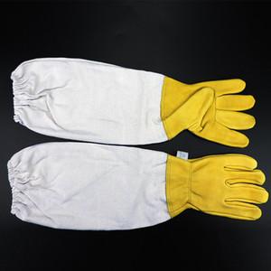 1 Pair Arıcı Eldiven Önlemek Koruyucu Kollu Havalandırmalı Arıcılık Arıcı Arıcılık için Profesyonel Anti Arı Sarı / Beyaz